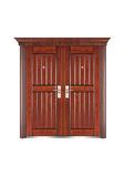 Steel wooden door -鸿福对开(手工木纹)