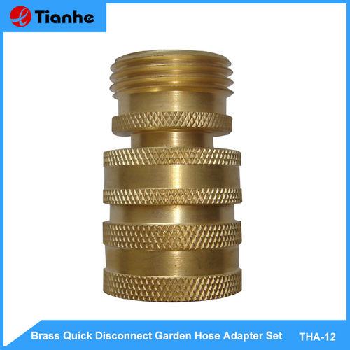 Brass Quick Disconnect Garden Hose Adapter Set-THA-12