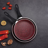Red Marble Forged Aluminum Fry Pan -JX-F-F05