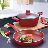 Rosy Red Forged Aluminum Cookware Set -JX-FST-02