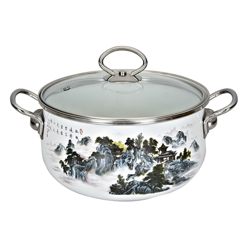 Enamel Saucepot With Glass Lid-JN-716-A