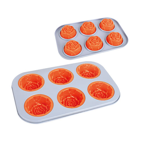 6 Cup Rose Cake Pan-BK-MS012