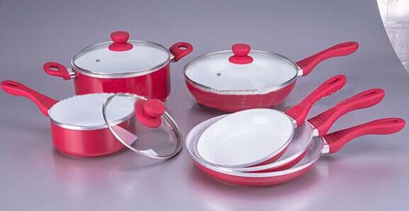 9pcs red Rluminum Cookware Set Sauce Pot-CJ-001