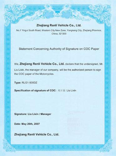 500CC COC for EU market-RLG1-500DZ