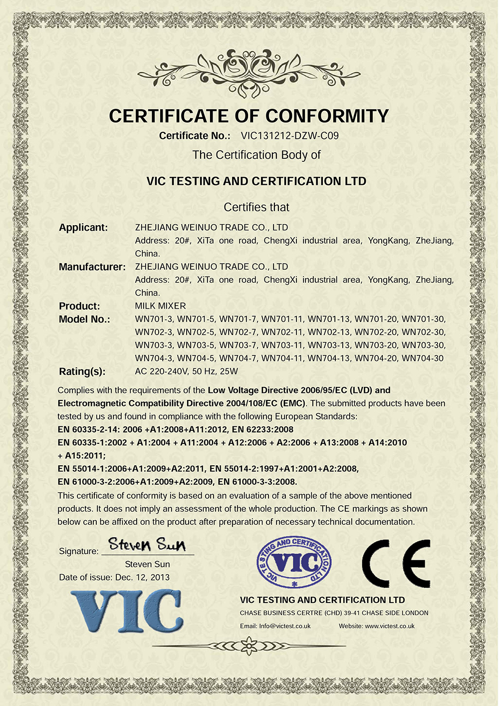 Certificatefry pan setzhejiang weimuo industry trade coltd ce certificate of ele milk mixer xflitez Gallery