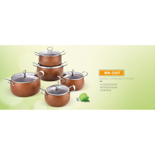 MARBLE COATING BELLY POT SET-WN-S007