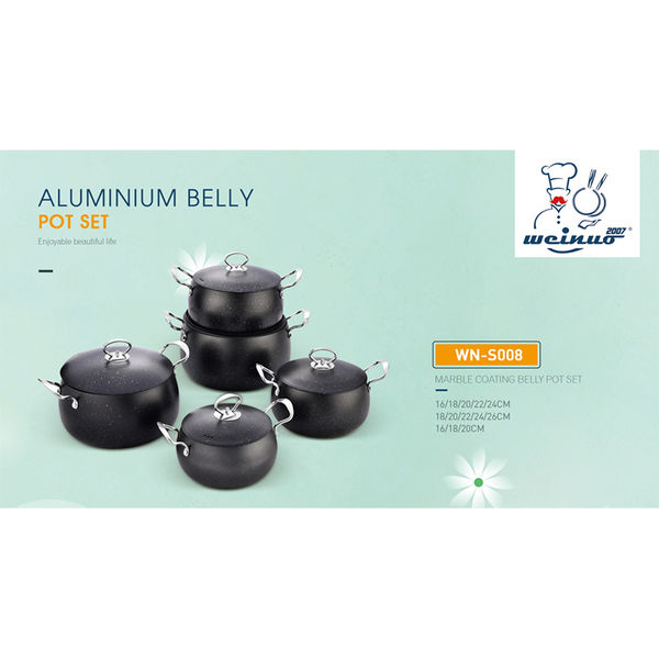 MARBLE COATING BELLY POT SET-WN-S008