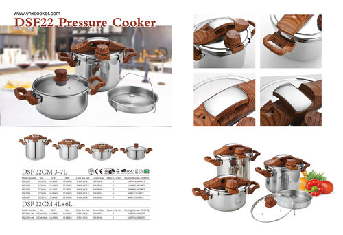 Pressure cooker with soft touch wooden painting-DSF 22cm 3-7L