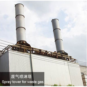Spay tower for waste gas-