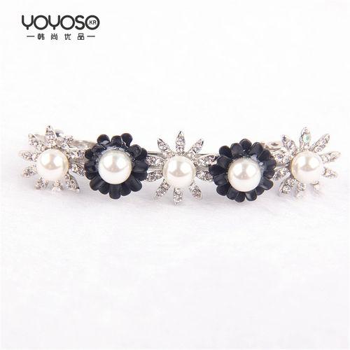 YOYOSO Korean Style Pearl Flower Clip-